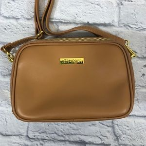 JOY & IMAN Leather crossbody bag. Tan/Gold. New!**